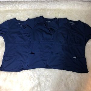 Lots of GREY'S ANATOMY SMALL SRUBS TOPS BLUE 3pcs